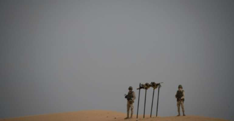Mauritanian soldiers at a G5 Sahel task force command post in the southeast of Mauritania near the border with Mali.  By THOMAS SAMSON (AFP/File)