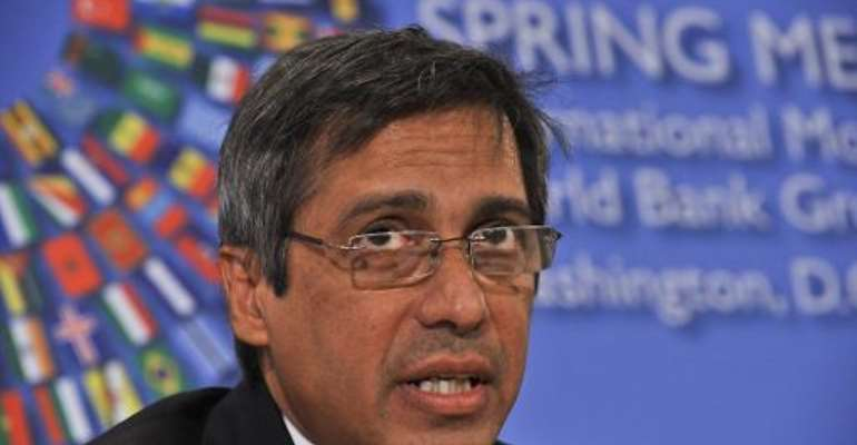 Mauritius Finance Minister Xavier-Luc Duval speaks at a press conference of African ministers at the IMF/World Bank Annual Spring Meetings in Washington on April 21, 2012.  By Nicholas Kamm (AFP/File)