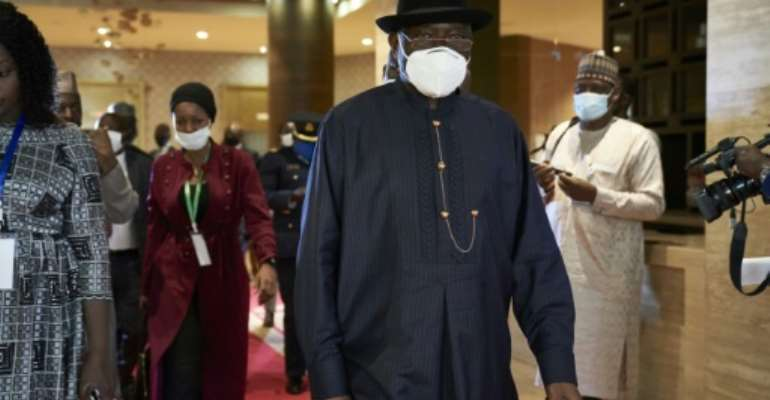 Mediator: Former Nigerian president Goodluck Jonathan, pictured in Bamako during a contact mission on July 23.  By MICHELE CATTANI (AFP)
