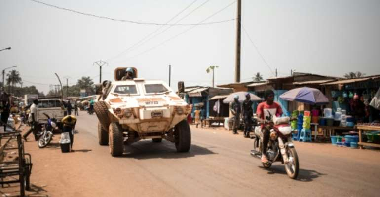 Members of the UN peacekeeping mission in the Central African Republic (MINUSCA) are seen patrolling in Bangui in January 2020 -- UN Secretary General Antonio Guterres has said he sees