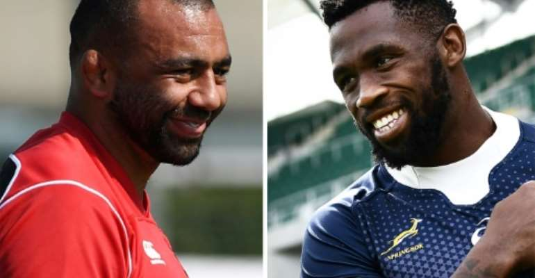 Michael Leitch (L) will lead Japan against Siya Kolisi's South Africa.  By Charly TRIBALLEAU, Anne-Christine POUJOULAT (AFP)