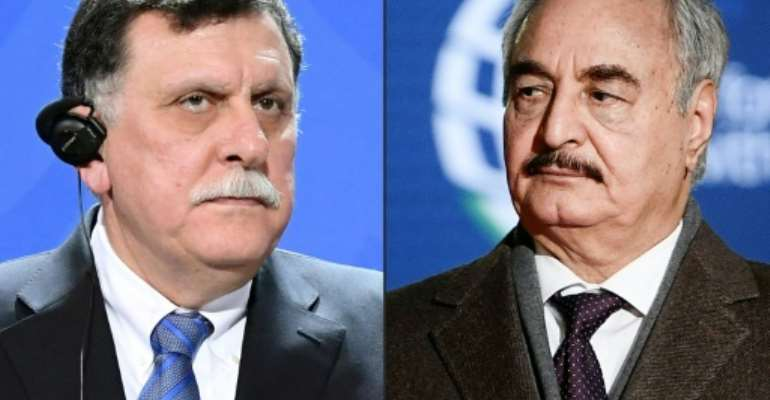 Military strongman Khalifa Haftar (right) refuses to recognise the authority of Libya's unity government head Fayez al-Sarraj (left).  By Maurizio Gambarini, Filippo MONTEFORTE (dpa/AFP/File)