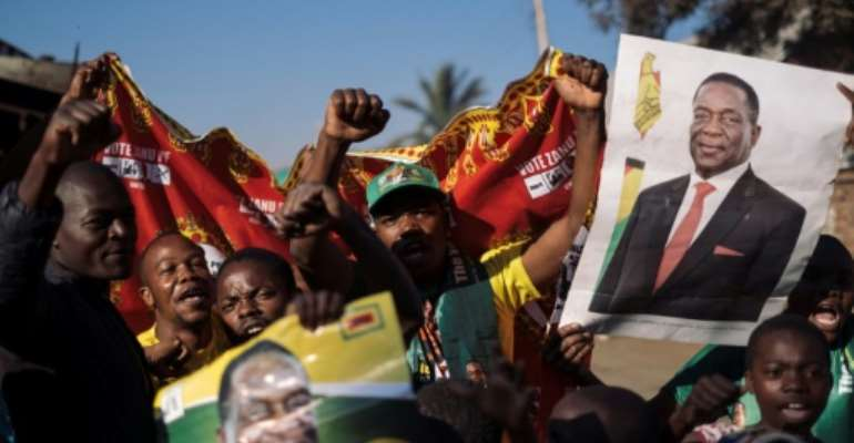 Mnangagwa's supporters celebrated his election victory.  By MARCO LONGARI (AFP)