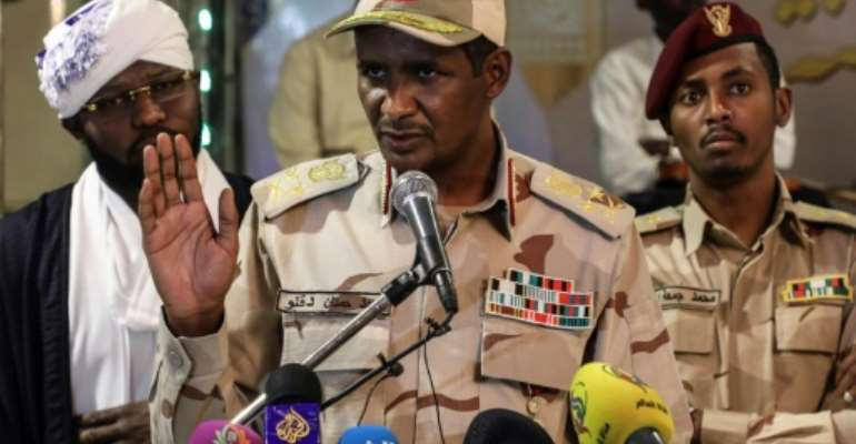 Mohamed Hamadan Dagalo is deputy head of Sudan's ruling military council and commander of the paramilitary Rapid Support Forces.  By STR (AFP/File)
