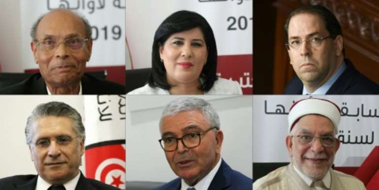 Moncef Marzouki, Abir Moussi, Youssef Chahed, Nabil Karoui, Abdelkrim Zbidi, Abdelfattah Mourou are candidates in the 2019 Tunisian presidential election.  By HASNA, FETHI BELAID (AFP/File)