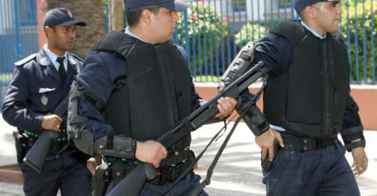 Moroccon police patrol the streets of Casablanca on April 14, 2007.  By Abdelhak Senna (AFP/File)