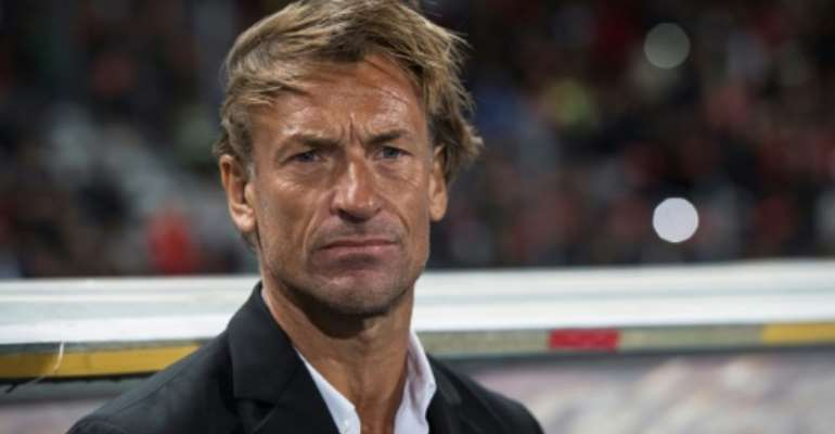 Morocco coach Herve Renard watches a friendly against Argentina in Tangiers this year.  By FADEL SENNA (AFP/File)