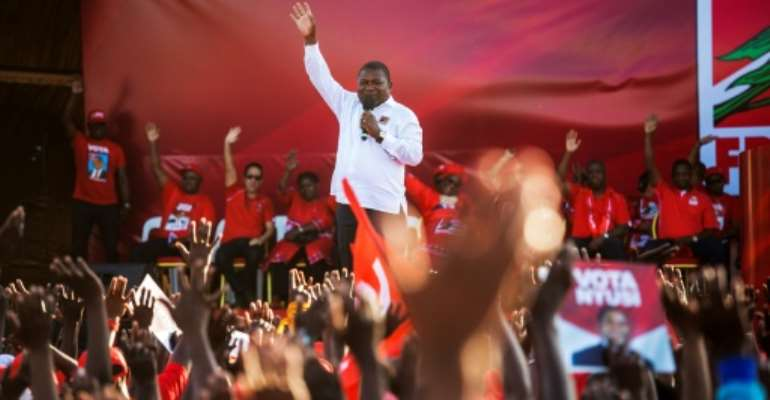 Mozambican President Filipe Nyusi and his ruling Frelimo  party appear set for election victory.  By GIANLUIGI GUERCIA (AFP/File)