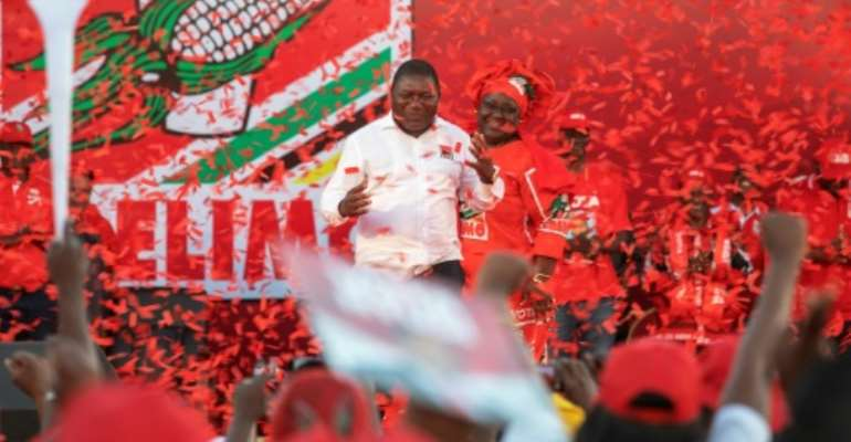 Mozambican ruling Party FRELIMO candidate and incumbent President Filipe Nyusi led the campaigning.  By GIANLUIGI GUERCIA (AFP)