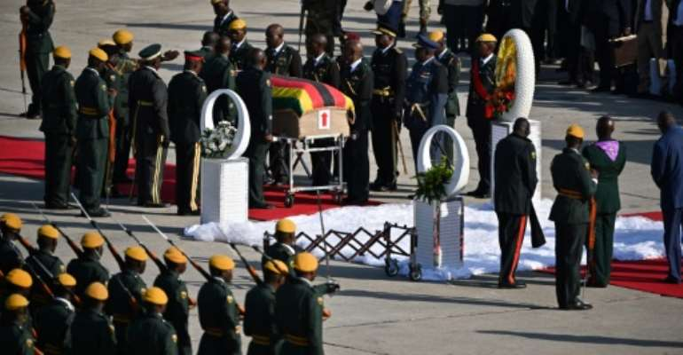 Mugabe's body arrived from Singapore where he died on Friday aged 95, after nearly four decades in power.  By Tony Karumba (AFP)