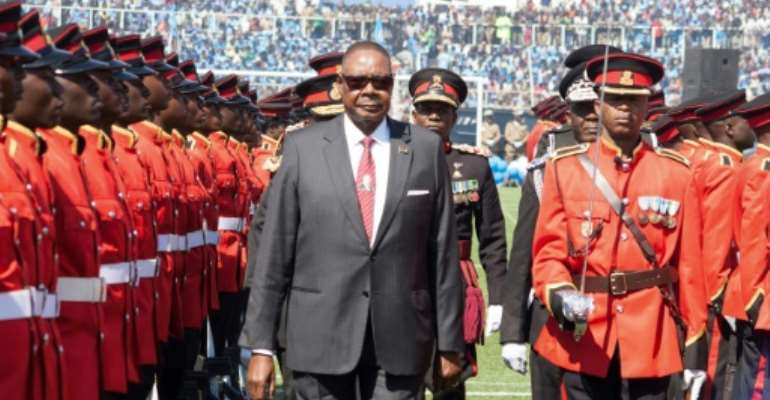 Mutharika at his inauguration last May -- his re-election has been annulled by the Constitutional Court because of voting irregularities.  By AMOS GUMULIRA (AFP)