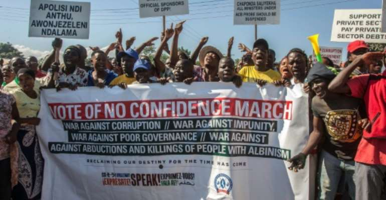 Mutharika has faced protests over corruption and incompetence.  By Amos Gumulira (AFP)