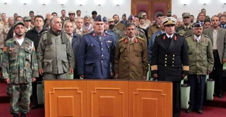 Commanders who defected from Moamer Kadhafi's armed forces in the heat of the civil uprising gather to name a new chief.  By Abdullah Doma (AFP)