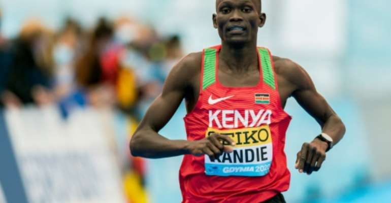 New men's half marathon record holder Kandie.  By MATEUSZ SLODKOWSKI (AFP)