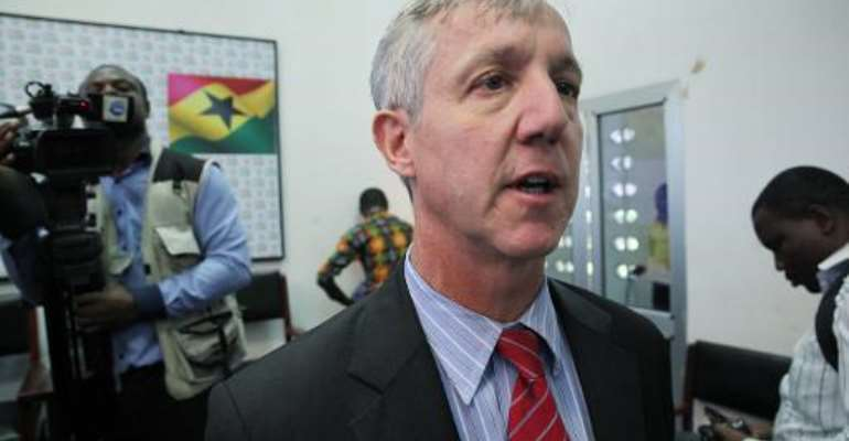 Anthony Banbury, head of the UN Ebola response team speaks to the media on September 30, 2014 in Accra.  By Chris Stein (AFP)