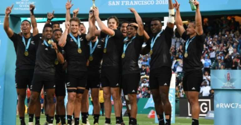 New Zealand won the men's and women's events at the last Sevens Rugby World Cup in San Francisco in 2018.  By Mark RALSTON (AFP/File)
