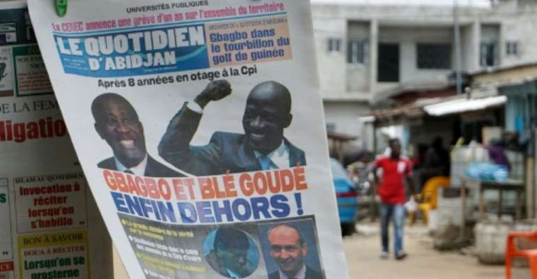 Newspaper in Abidjan close to the FPI party founded by former president Laurent Gbagbo, reading
