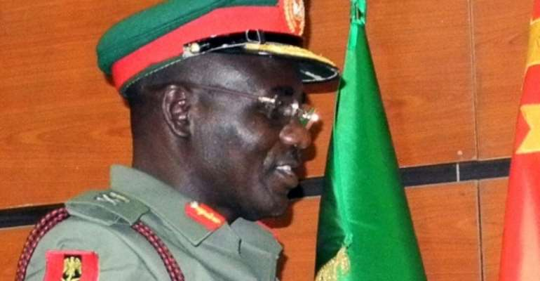 Lieutenant General Tukur Buratai escaped injury when suspected Boko Haram fighters ambushed a convoy he was travelling in.  By  (AFP Photo)