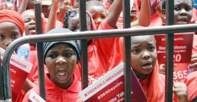 Children designated ambassadors for the Chibok girls protest on April 14, 2015 in the Nigerian capital Abuja, demanding the release of more than 200 schoolgirls abducted by Boko Haram militants.  By - (AFP/File)