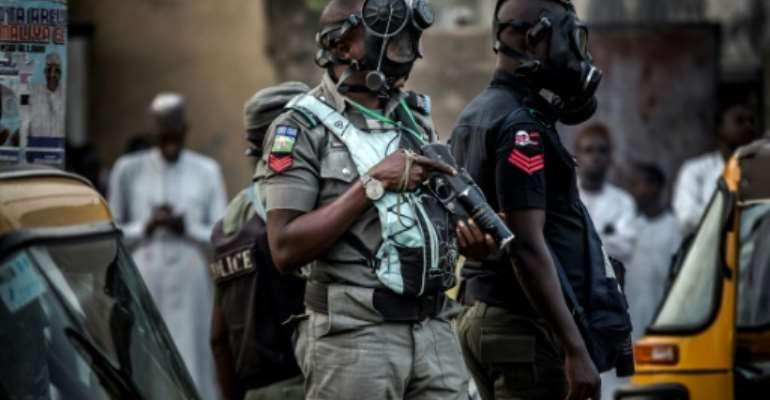 Nigerian police (pictured February 2019) were doing