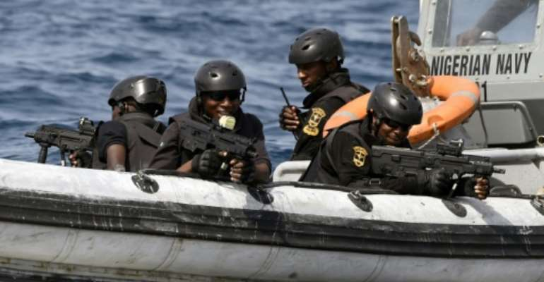 Nigerian special forces taking part in an anti-piracy drill in the Gulf of Guinea in 2019.  By PIUS UTOMI EKPEI (AFP)