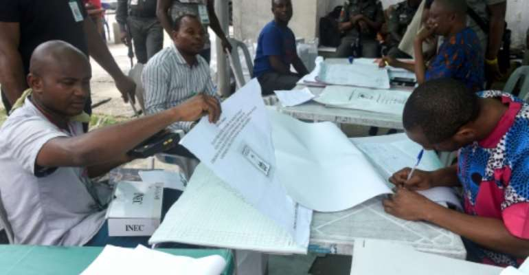 Nigeria's voting commission ordered the partial re-run because of electoral violence.  By PIUS UTOMI EKPEI (AFP)