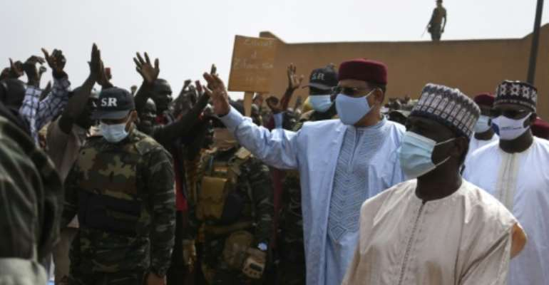 Niger's President Mohamed Bazoum, visiting the region for the first time since his election in February, says the army has gained the upper hand against the jihadists.  By BOUREIMA HAMA (AFP)