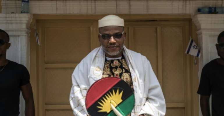 Nnamdi Kanu, pictured in 2017 in the garden of his house in Umuahia, southeast Nigeria, disappeared later that year while on bail, later re-emerging first in Jerusalem, then Britain.  By STEFAN HEUNIS (AFP/File)