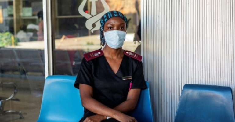 Nurse Nosipho Dlamini at the Charlotte Maxeke Hospital in Johannesburg which was swamped by patients last month.  By Michele Spatari (AFP/File)