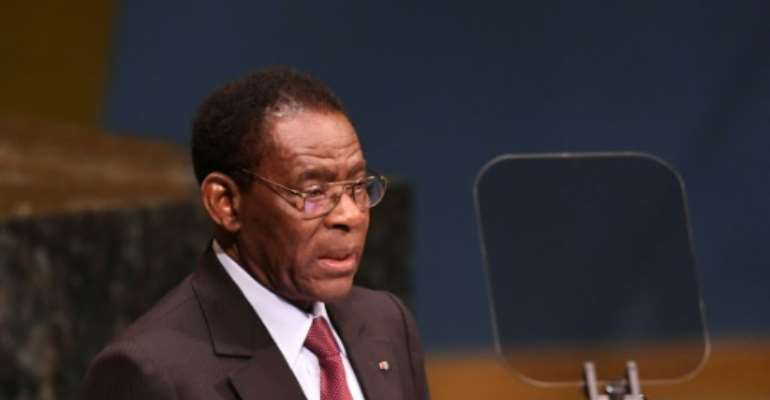 Obiang Nguema, pictured at the United Nations last September, has ruled Equatorial Guinea for nearly 40 years.  By Don EMMERT (AFP)