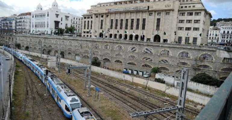 A general view shows Algeria's National Assembly parliament building behind a train track in the capital Algiers on September 3, 2012.  By Farouk Batiche (AFP/File)