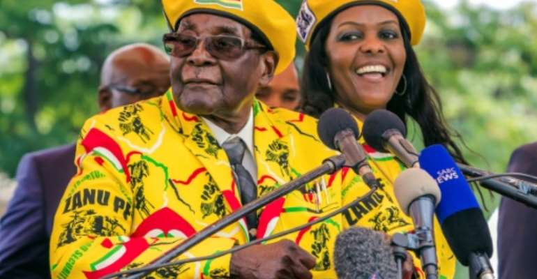 One of Grace Mugabe's last public appearances as first lady was at a rally in support of her husband, 13 days before his fall from office.  By Jekesai NJIKIZANA (AFP)