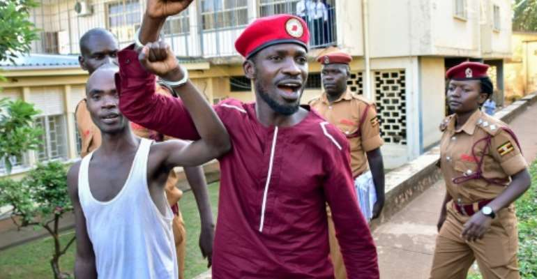 Opposition figurehead Bobi Wine was arrested on April 29 over an allegedly illegal protest last year.  By Nicholas BAMULANZEKI (AFP)
