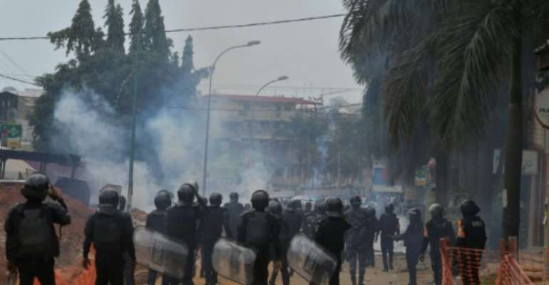 Opposition protesters see Ouattara's bid for a third term as unconstitutional.  By Issouf SANOGO (AFP)