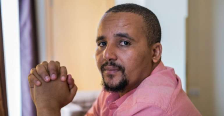Oromo activist Jawar Mohammed, pictured during an interview with AFP in Addis Ababa in September 2018.  By Maheder HAILESELASSIE TADESE (AFP/File)