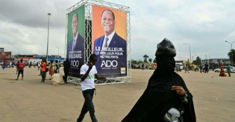 Ouattara,78, is controversially seeking a third term.  By Issouf SANOGO (AFP)