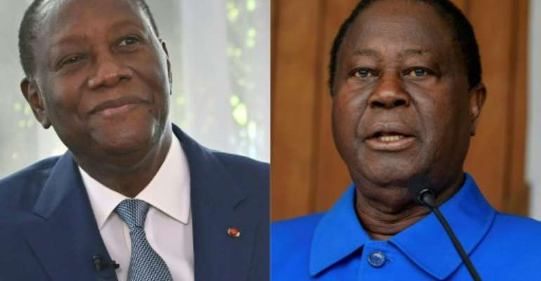 Ouattara, left, and Bedie, right, have been central figures in Ivorian politics for decades. Their relationship has known periods of alliance and bouts of feuding.  By Issouf SANOGO (AFP)