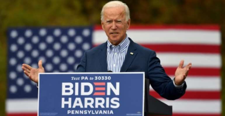 Out of 3,097 people polled across 18 Middle East and North African countries, around 39 percent favoured Democratic presidential candidate Joe Biden (pictured October 24, 2020) while only 12 percent opted for US President DonaldTrump.  By ANGELA WEISS (AFP/File)