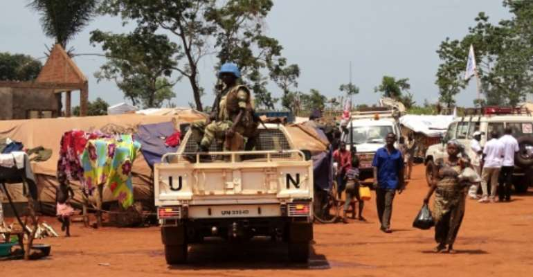 Peacekeepers from Gabon on patrol in the city of Bria in the Central African Republic.  By SABER JENDOUBI (AFP/File)