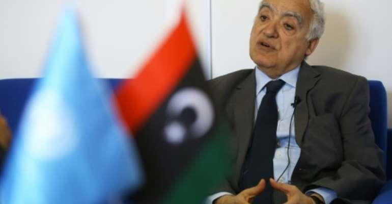 Photo prise le 18 avril 2019, lors d'une interview avec l'AFP, de Ghassan Salamé, émissaire de l'ONU pour la Libye.  By Mahmud TURKIA (AFP/File)