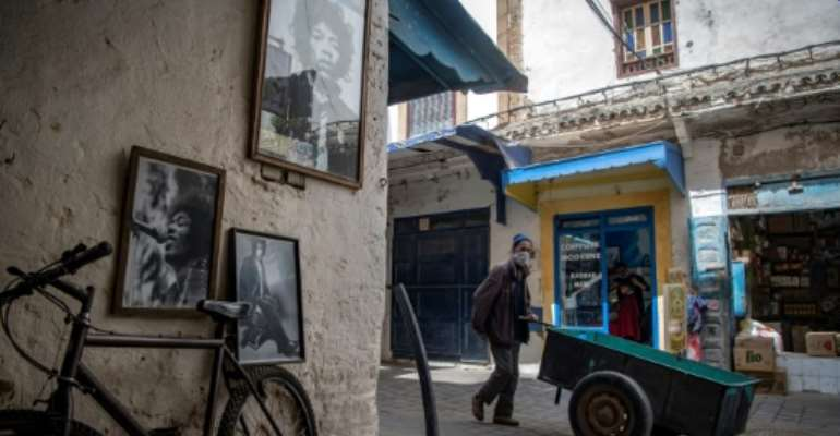 Pictures of late guitar legend Jimi Hendrix are a fixture of life in the Moroccan coastal city of Essaouira and the nearby village of Diabat.  By FADEL SENNA (AFP)