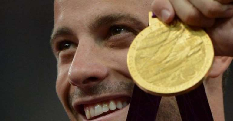 South Africa's Oscar Pistorius wins the men's 400m final at the London 2012 Paralympic Games on September 8, 2012.  By Ben Stansall (AFP/File)