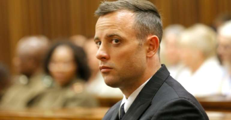 South African Paralympian Oscar Pistorius in court in Pretoria on June 14, 2016.  By Kim Ludbrook (Pool/AFP)