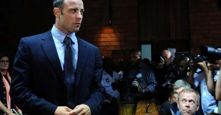 Oscar Pistorius appears at court in Pretoria on February 22, 2013.  By Alexander Joe (AFP)