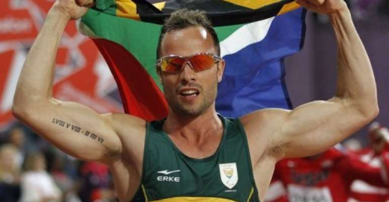 South Africa's Oscar Pistorius celebrates Paralympic gold in the men's 400m - T44 final in London on September 8, 2012.  By Ian Kington (AFP/File)