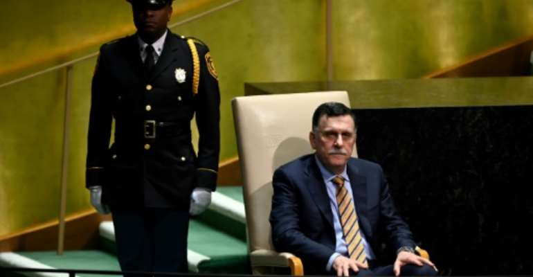 Prime Minister Fayez al-Sarraj waits to speak at the General Assembly on September 25 in New York.  By Johannes EISELE (AFP)