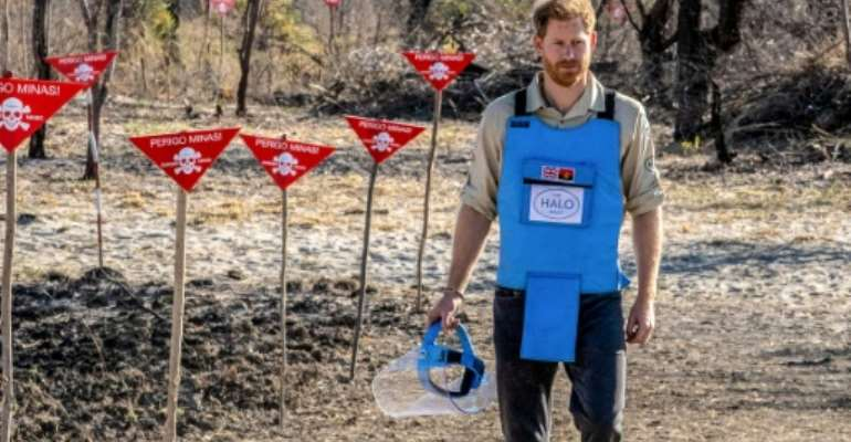 Prince Harry visited Angola in September to highlight the problem of landmine left after the country's civil war.  By - (The HALO Trust/AFP)