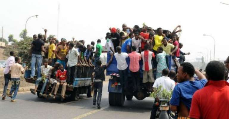 The strike this week has brought hundreds of thousands of people out into the streets in protest.  By Pius Utomi Ekpei (AFP)