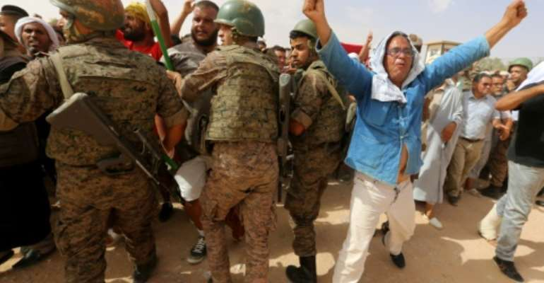 Protestors have been blockading oil and gas facilites in southern Tunisia since July demanding new investment and jobs.  By FATHI NASRI (AFP/File)