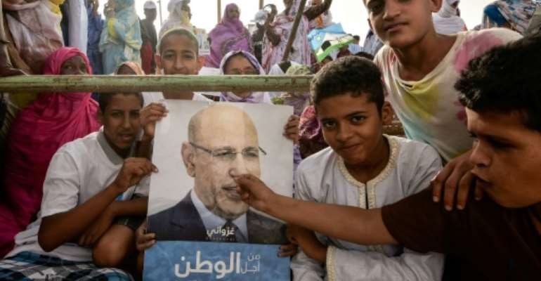 Rally: Supporters of Mohamed Ould Ghazouani, the frontrunner in Saturday's presidential race.  By Sia KAMBOU (AFP)